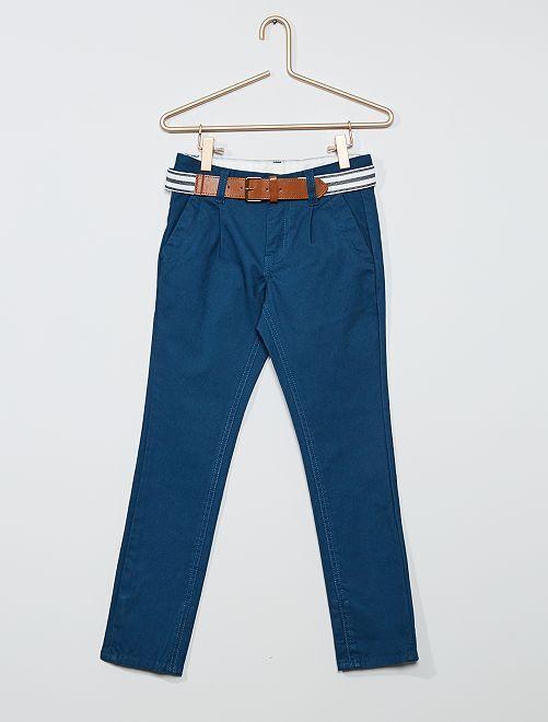Pantaloni chino slim + cintura a righe                                                                             BLU
