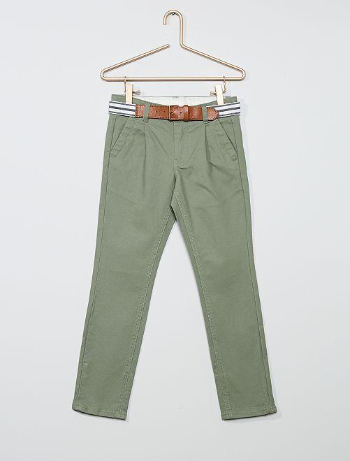 Pantaloni chino slim + cintura a righe                                                     VERDE