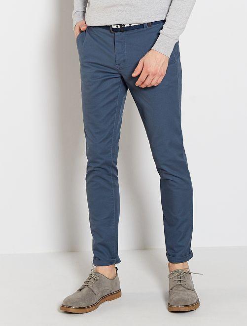 Pantaloni chino slim + cintura                                             BLU