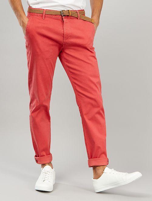 Pantaloni chino slim + cintura                                                                 rosso granata