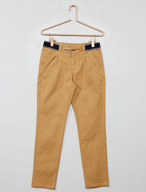 Pantaloni chino slim cintura sportiva                                 BEIGE