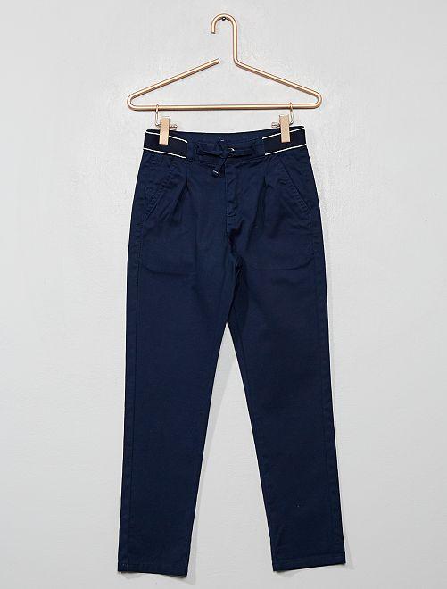 Pantaloni chino slim cintura sportiva                                                                 blu