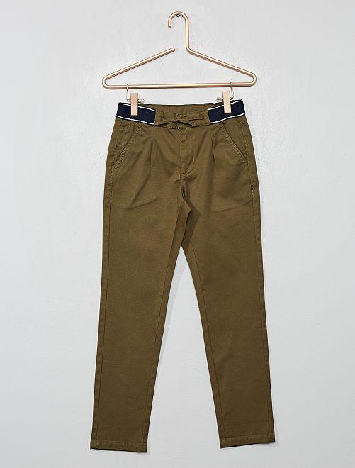 Pantaloni chino slim cintura sportiva                                                                 verde scuro