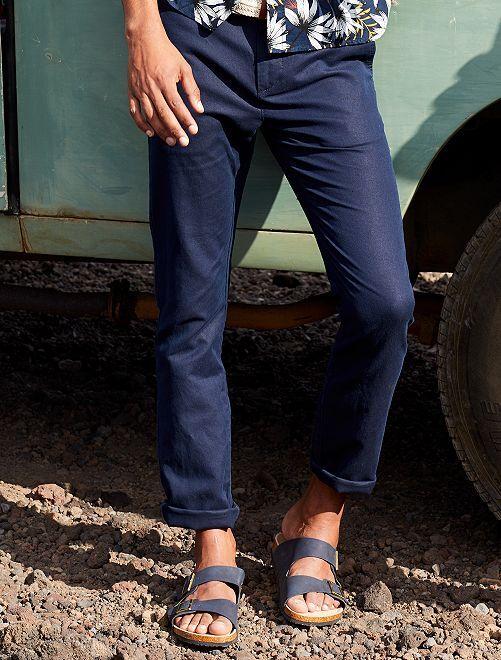 Pantaloni chino slim cotone e lino                             BLU Uomo