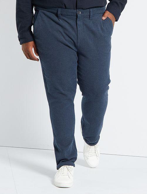 Pantaloni chino slim fit pied-de-poule                             blu
