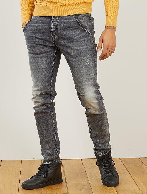 Pantaloni chino slim in jeans L32                                         GRIGIO
