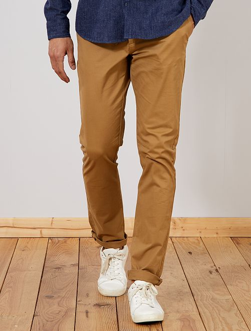 Pantaloni chino slim puro cotone L36 + 1 m 90                                                                             BEIGE