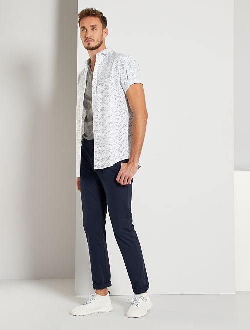 Pantaloni chino slim puro cotone L36 + 1 m 90                                                                 BLU