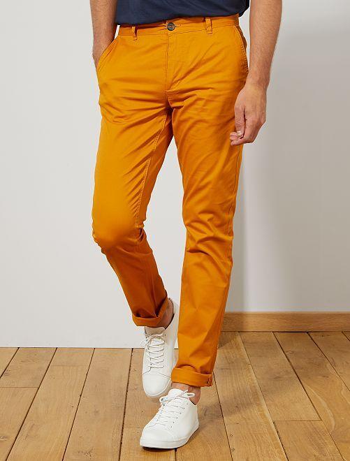 Pantaloni chino slim puro cotone L36 + 1 m 90                                                     GIALLO