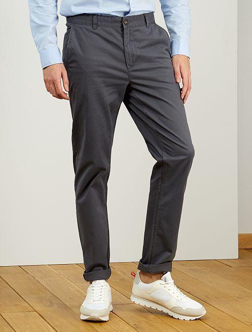 Pantaloni chino slim puro cotone L36 + 1 m 90                                                                             GRIGIO