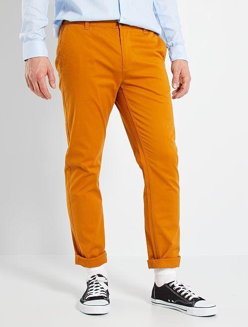 Pantaloni chino slim puro cotone L36 + 1 m 90                                                                 marrone