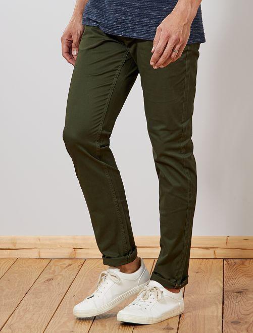 Pantaloni chino slim puro cotone L36 + 1 m 90                                                                 verde selva Uomini alti più di 190cm