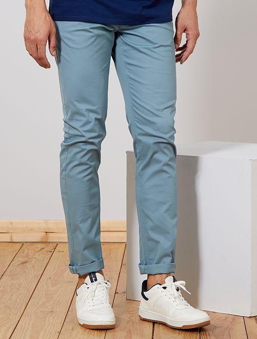 Pantaloni chino slim puro cotone L38 + 1 m 90                                                         blu grigio Uomini alti più di 190cm