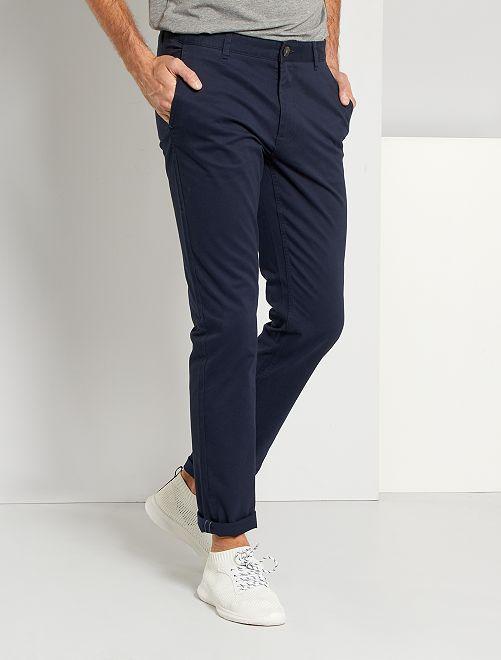 Pantaloni chino slim puro cotone L38 + 1 m 90                                             BLU