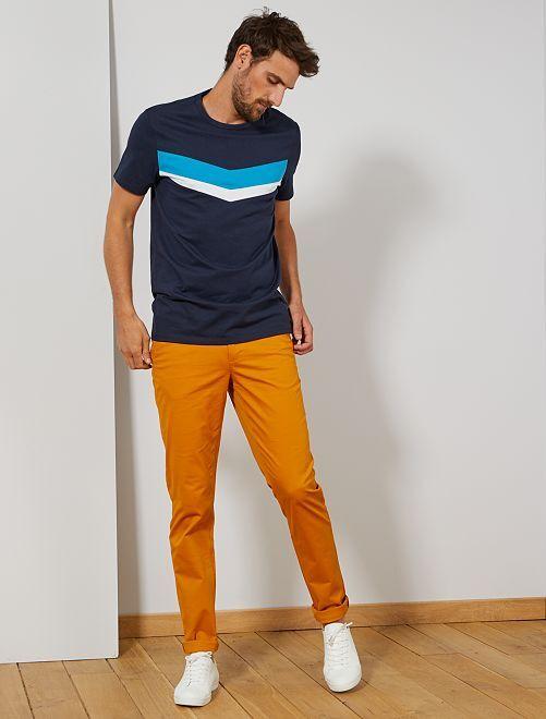 Pantaloni chino slim puro cotone L38 + 1 m 90                                                                 GIALLO