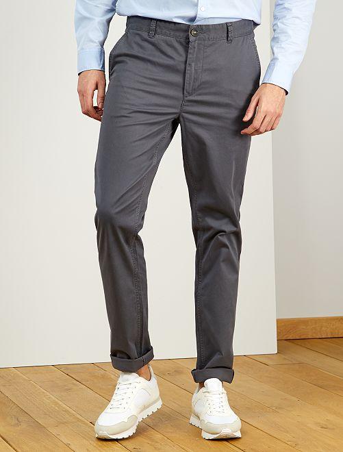 Pantaloni chino slim puro cotone L38 + 1 m 90                                                                 GRIGIO