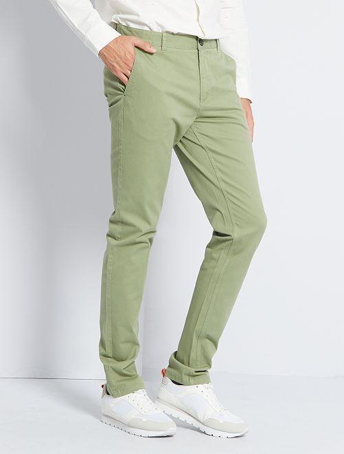 Pantaloni chino slim puro cotone L38 + 1 m 90                                                                                                     KAKI