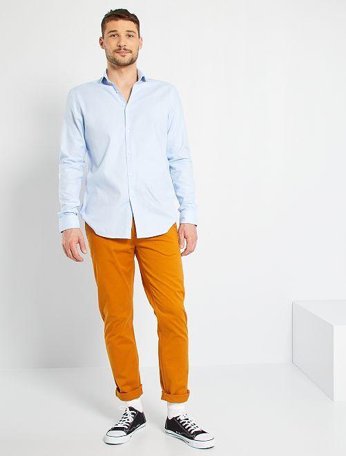 Pantaloni chino slim puro cotone L38 + 1 m 90                                                     marrone