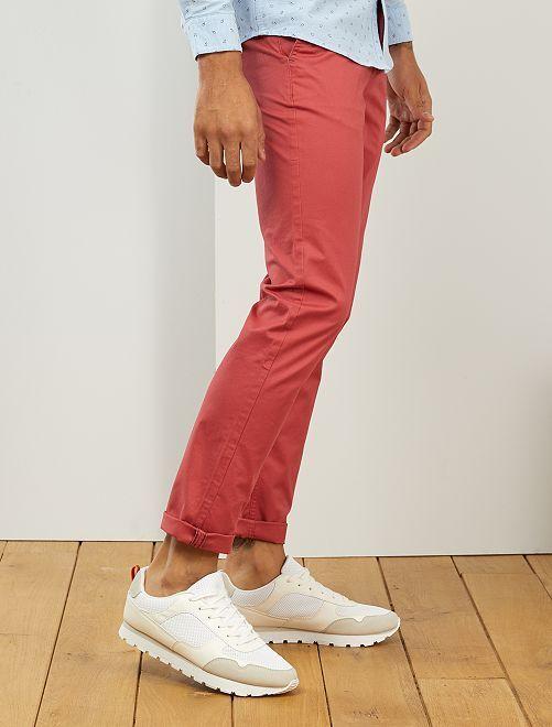 Pantaloni chino slim puro cotone L38 + 1 m 90                                                                                                     rosso granata