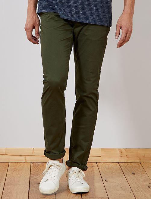 Pantaloni chino slim puro cotone L38 + 1 m 90                                                                 verde selva Uomini alti più di 190cm