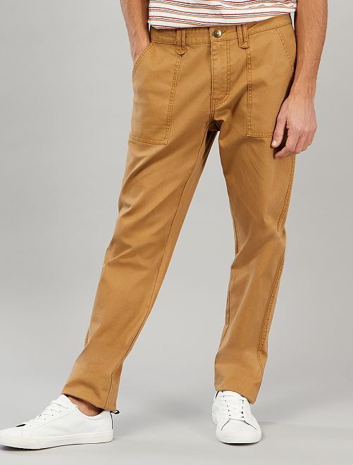 Pantaloni chino slim tasche applicate                             BEIGE