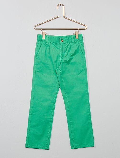 Pantaloni chino tinta unita                                                     VERDE Infanzia bambino