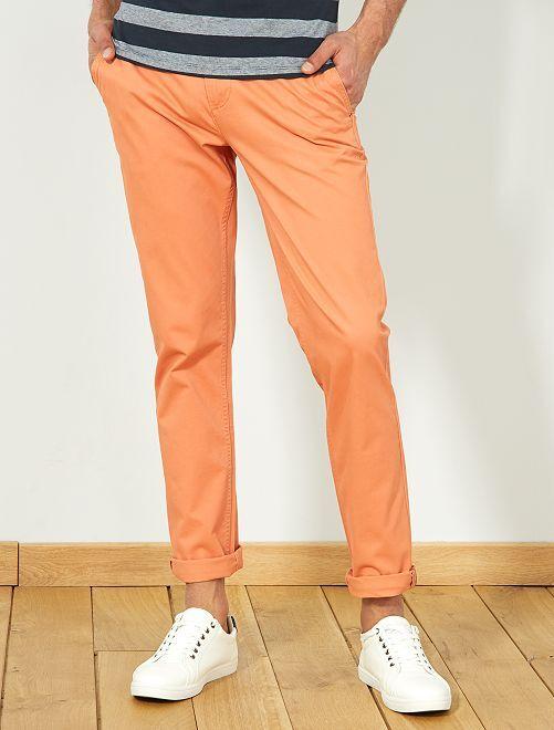 Pantaloni chino twill cotone stretch                                                                                                                                                                                                                                                     ARANCIONE Uomo