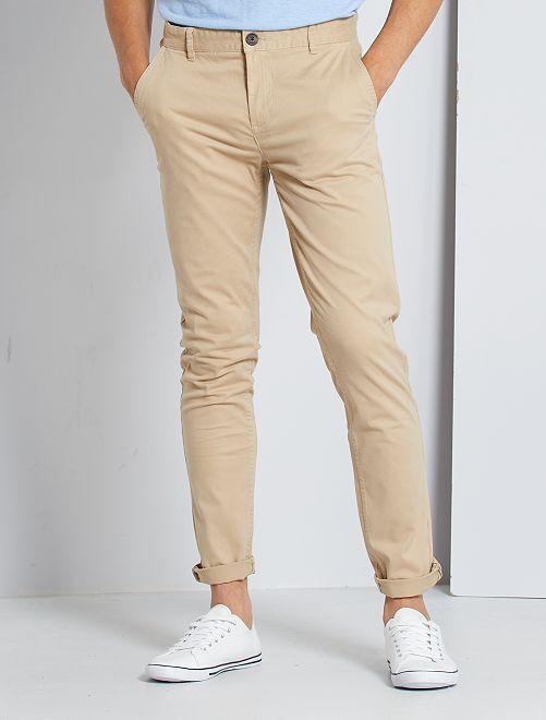 Pantaloni chino twill cotone stretch                                                                                                                                                                                                                                                                             BEIGE