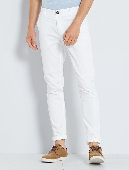 Pantaloni chino twill cotone stretch                                                                                                                                                                                                                                                                             bianco