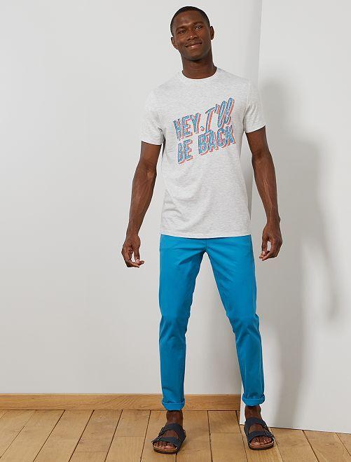 Pantaloni chino twill cotone stretch                                                                                                                                                                                                                             blu azzurro