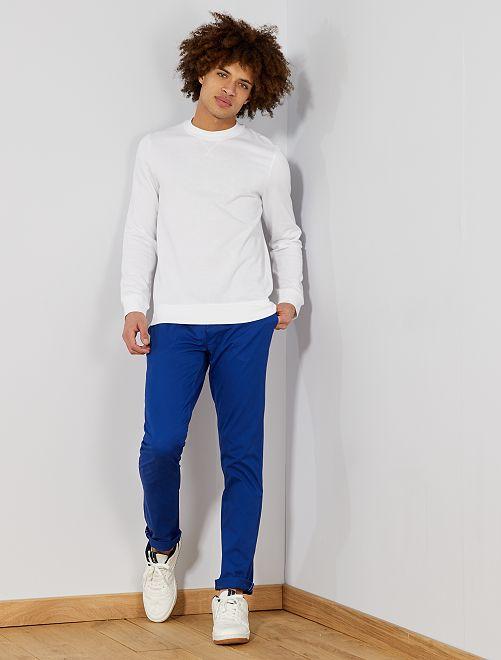 Pantaloni chino twill cotone stretch                                                                                                                                                                                                                                                                                                                 blu Uomo