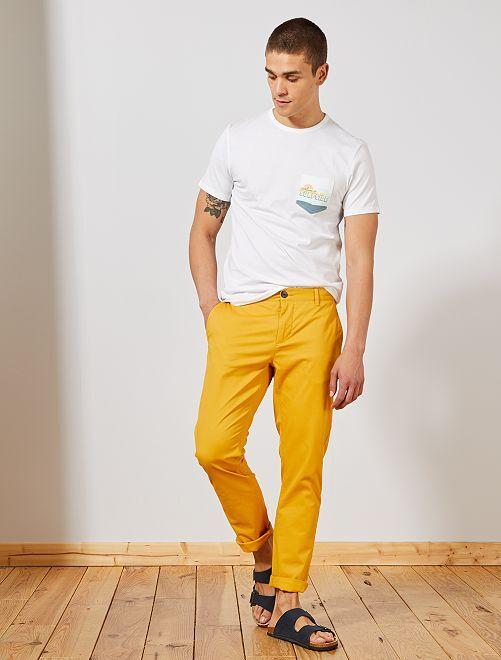 Pantaloni chino twill cotone stretch                                                                                                                                                                                                                                                                                                                             GIALLO Uomo