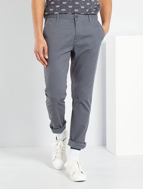 Pantaloni chino twill cotone stretch                                                                                                                                                                                                                                                                             GRIGIO
