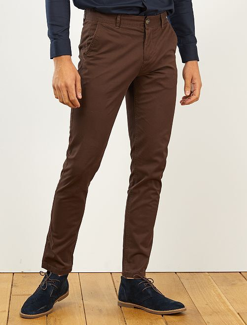 Pantaloni chino twill cotone stretch                                                                                                                                                                                                                                                                             marrone caffé