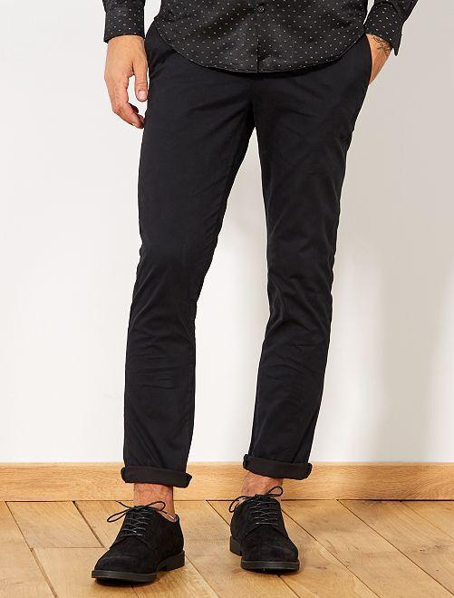 Pantaloni chino twill cotone stretch                                                                                                                                                                                                                     nero