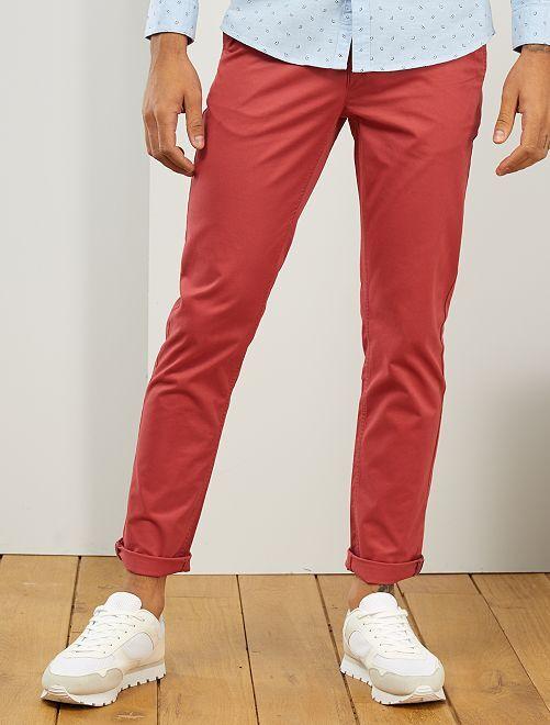 Pantaloni chino twill cotone stretch                                                                                                                                                                                                                                                                             rosso granata