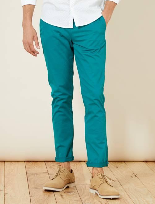 Pantaloni chino twill cotone stretch                                                                                                                                                                                                                                                                             VERDE Uomo