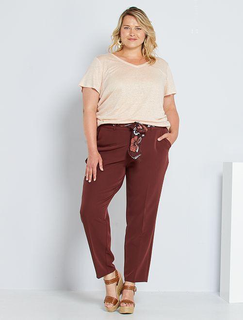 Pantaloni con cintura a foulard                             ROSSO