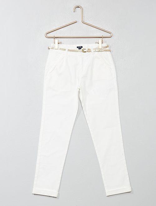 Pantaloni con pince + cintura                             bianco neve Infanzia bambina