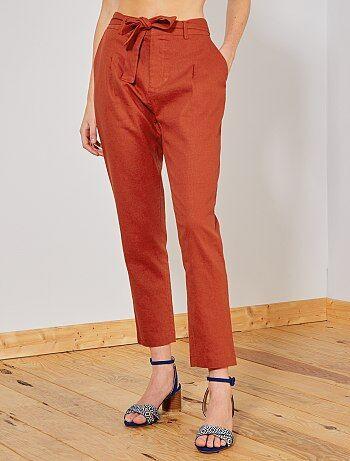 separation shoes 73cde b9247 Donna dalla 38 alla 52 - Pantaloni con pince lino e viscosa - Kiabi