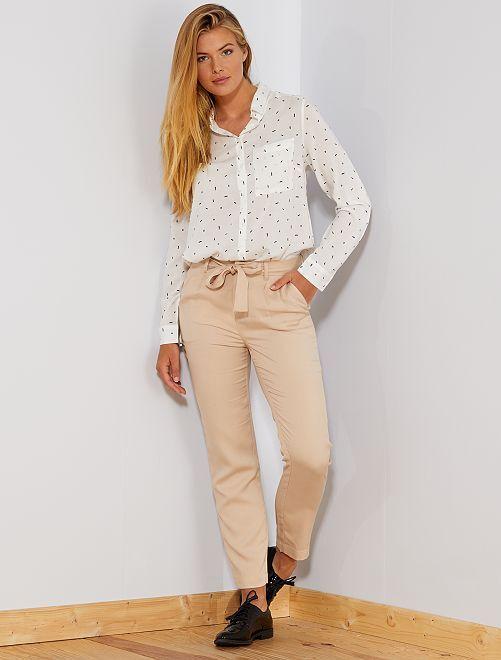 Pantaloni con pince lyocell                                                                                         BEIGE Donna