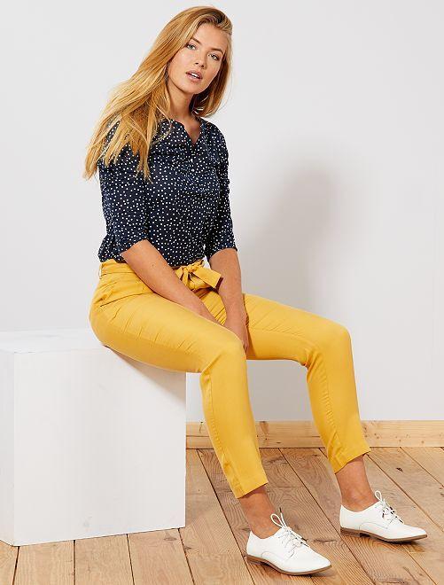Pantaloni con pince lyocell                                                                                         GIALLO Donna
