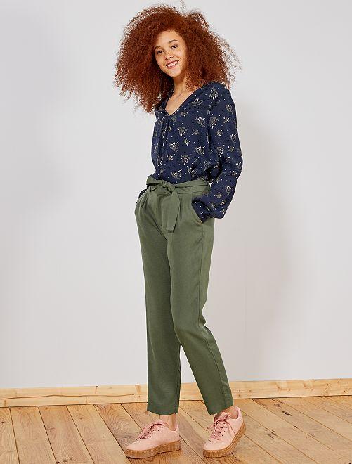 Pantaloni con pince lyocell                                                                                         KAKI Donna
