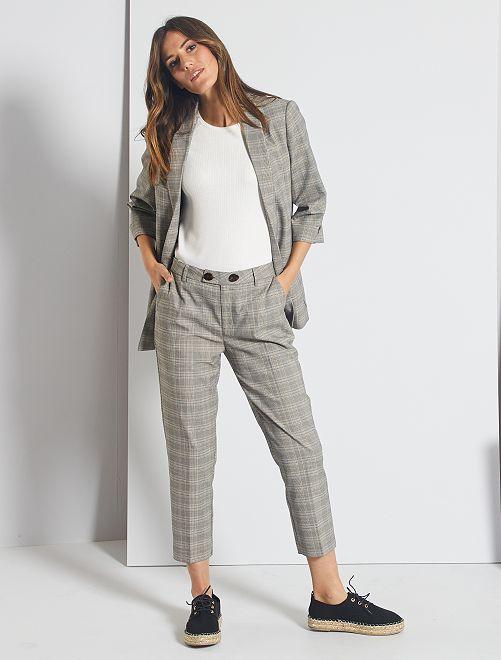 Pantaloni con pinces a quadri                                                     BEIGE