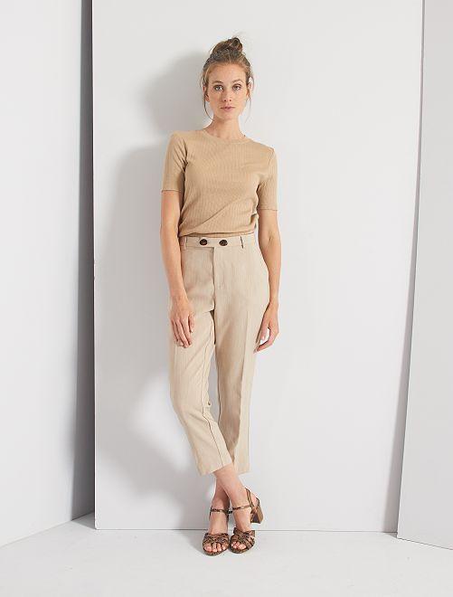 Pantaloni con pinces                                                     BEIGE