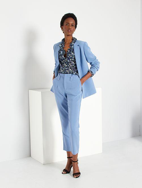 Pantaloni con pinces                             grigio blu