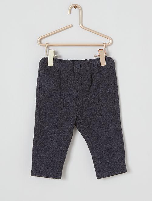 Pantaloni con pinces in flanella                             GRIGIO