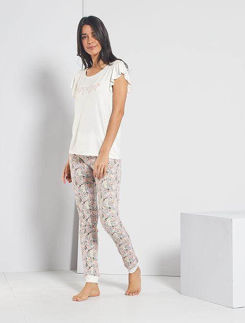 Pantaloni con stampa floreale                                                                 BIANCO
