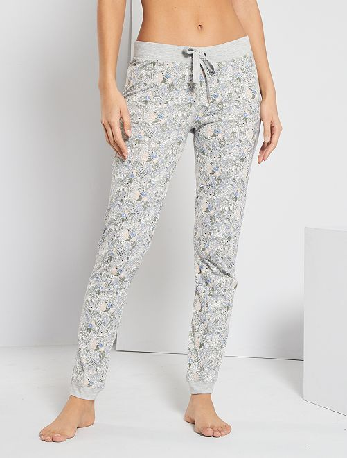 Pantaloni con stampa floreale                                                                 GRIGIO