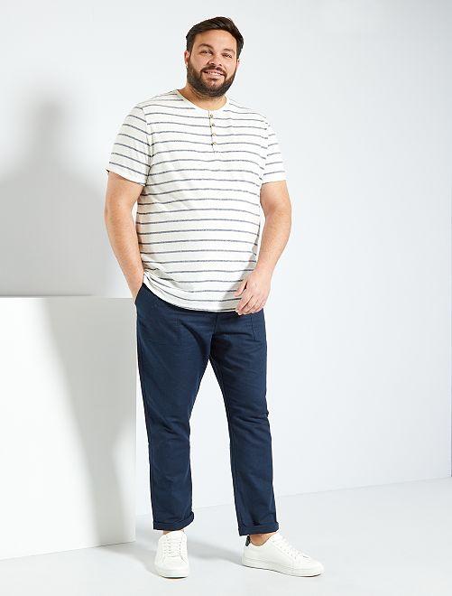 Pantaloni cotone e lino                                         BLU